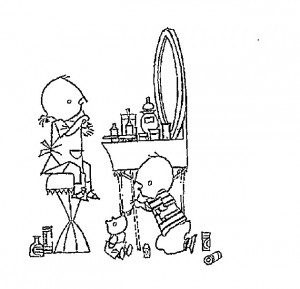 coloring page Janneke at the make-up table