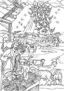 coloring page Jesus is born