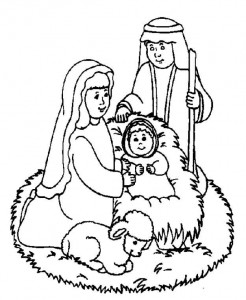 coloring page Jesus, Mary and Joseph in the stable (1)