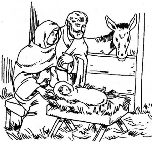 coloring page Jesus, Mary and Joseph in the stable (2)