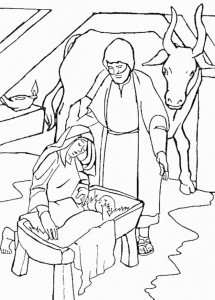 coloring page Jesus, Mary and Joseph in the stable