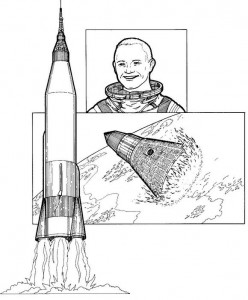 coloring page John Glenn, first man around the earth, 1962