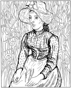 coloring page Young farmer's wife 1890