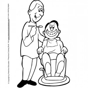 coloring page Boy in the chair at the dentist