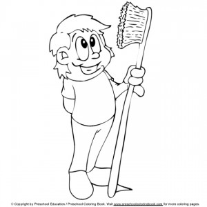 coloring page Boy with toothbrush