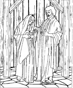 coloring page Joseph, Mary and baby Jesus