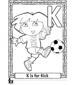 coloring page K Kick = Shooting