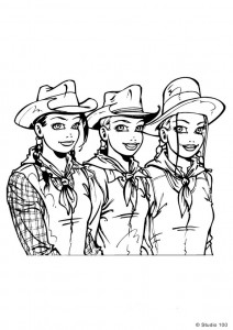 coloring page K3 as cowboys