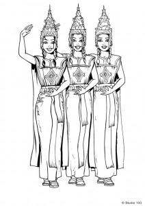coloriage K3 en costume traditionnel asiatique