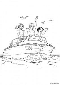kleurplaat K3 in de speedboot