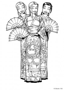 kleurplaat K3 in japanse klederdacht