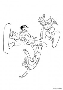 coloring page K3 on snowboards
