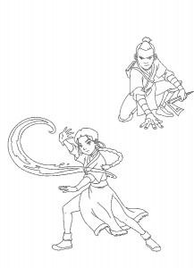 coloring page Katara and Sokka