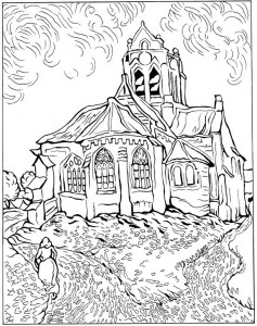 coloring page Church of Auvers 1890