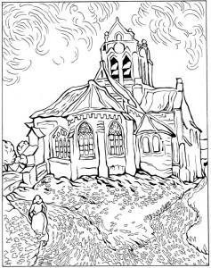 pagina da colorare Chiesa di Auvers 1890