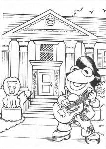 coloring page Kermit as Elvis
