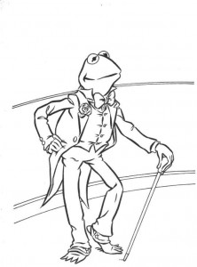 coloring page Kermit as Fred Astaire