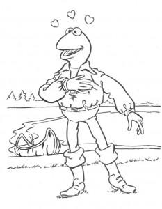 kleurplaat Kermit als John Smith