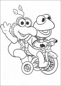 coloring page Kermit and Gonzo
