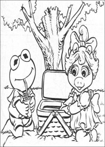 coloring page Kermit and Piggy picnicking