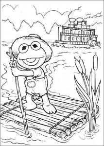 kleurplaat Kermit op een vlot