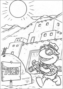 kleurplaat Kermit op vakantie