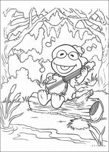 coloring page Kermit sings