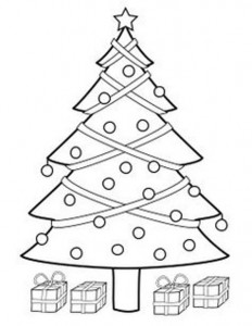 kleurplaat Kerstbomen om zelf te versieren (4)