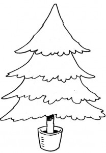 kleurplaat Kerstbomen om zelf te versieren (5)