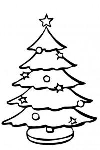 kleurplaat Kerstbomen om zelf te versieren (7)