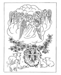 coloring page Christmas angels