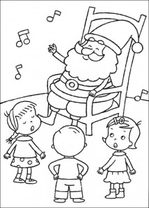 coloring page Singing Christmas songs