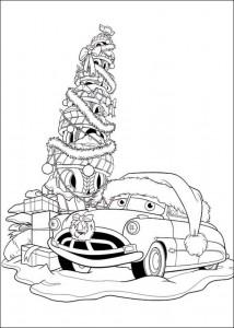 kleurplaat Kerstmis Cars (3)