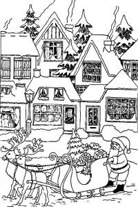 kleurplaat Kerstmis - de Kerstman (16)