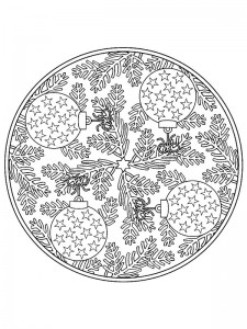 kleurplaat Kerstmis Mandala ballen