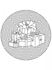 kleurplaat Kerstmis Mandala cadeautjes (1)