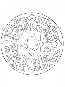kleurplaat Kerstmis Mandala cadeautjes