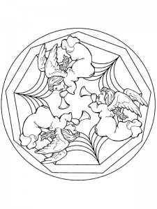 kleurplaat Kerstmis Mandala engeltjes (1)
