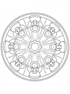 kleurplaat Kerstmis Mandala engeltjes (2)
