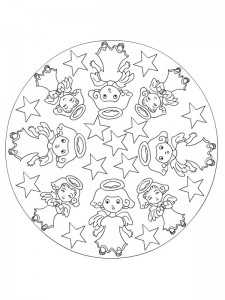 kleurplaat Kerstmis Mandala engeltjes