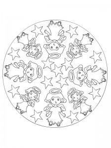 coloring Christmas Mandala engler