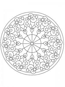 kleurplaat Kerstmis Mandala kaarsen