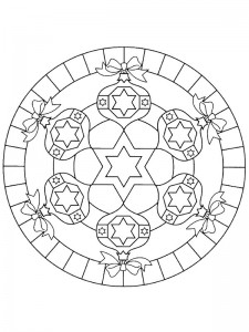 kleurplaat Kerstmis Mandala kerstballen