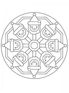 kleurplaat Kerstmis Mandala kerstman