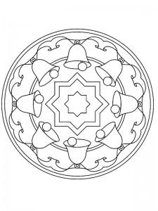 kleurplaat Kerstmis Mandala klokken (1)