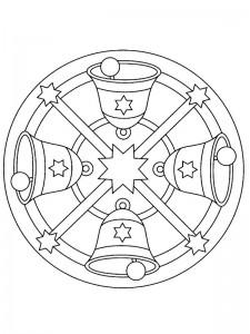 kleurplaat Kerstmis Mandala klokken (2)