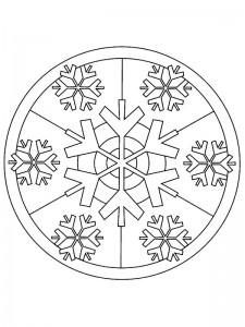 kleurplaat Kerstmis Mandala sneeuw