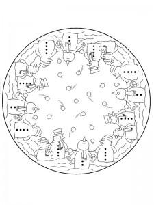 coloring Christmas Mandala snømann (1)