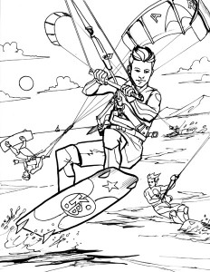 coloring page kite surfing