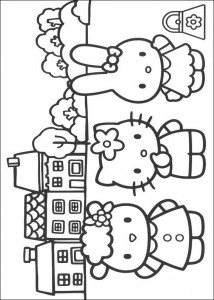 coloring page Kitty and her friends